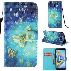 Gold Butterfly 3D Painted Leather Wallet Case for Samsung Galaxy J6 Plus / J6 Prime