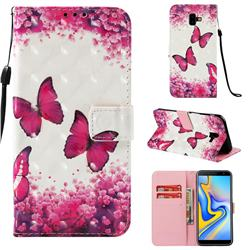 Rose Butterfly 3D Painted Leather Wallet Case for Samsung Galaxy J6 Plus / J6 Prime