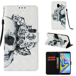 Skull Flower 3D Painted Leather Wallet Case for Samsung Galaxy J6 Plus / J6 Prime
