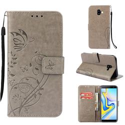 Embossing Butterfly Flower Leather Wallet Case for Samsung Galaxy J6 Plus / J6 Prime - Grey