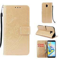 Embossing Butterfly Flower Leather Wallet Case for Samsung Galaxy J6 Plus / J6 Prime - Champagne