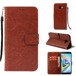 Embossing Butterfly Flower Leather Wallet Case for Samsung Galaxy J6 Plus / J6 Prime - Brown