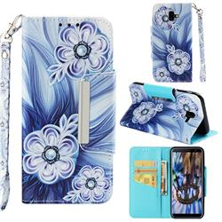 Button Flower Big Metal Buckle PU Leather Wallet Phone Case for Samsung Galaxy J6 Plus / J6 Prime