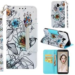 Fotus Flower Big Metal Buckle PU Leather Wallet Phone Case for Samsung Galaxy J6 Plus / J6 Prime