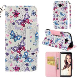 Colored Butterfly Big Metal Buckle PU Leather Wallet Phone Case for Samsung Galaxy J6 Plus / J6 Prime