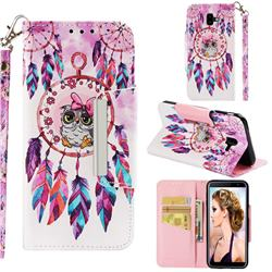 Owl Wind Chimes Big Metal Buckle PU Leather Wallet Phone Case for Samsung Galaxy J6 Plus / J6 Prime