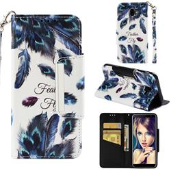 Peacock Feather Big Metal Buckle PU Leather Wallet Phone Case for Samsung Galaxy J6 Plus / J6 Prime