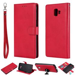 Retro Greek Detachable Magnetic PU Leather Wallet Phone Case for Samsung Galaxy J6 Plus / J6 Prime - Red
