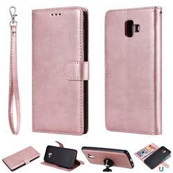 Retro Greek Detachable Magnetic PU Leather Wallet Phone Case for Samsung Galaxy J6 Plus / J6 Prime - Rose Gold