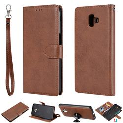 Retro Greek Detachable Magnetic PU Leather Wallet Phone Case for Samsung Galaxy J6 Plus / J6 Prime - Brown