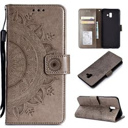 Intricate Embossing Datura Leather Wallet Case for Samsung Galaxy J6 Plus / J6 Prime - Gray