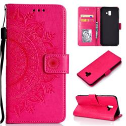 Intricate Embossing Datura Leather Wallet Case for Samsung Galaxy J6 Plus / J6 Prime - Rose Red