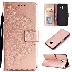 Intricate Embossing Datura Leather Wallet Case for Samsung Galaxy J6 Plus / J6 Prime - Rose Gold