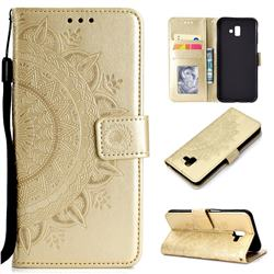 Intricate Embossing Datura Leather Wallet Case for Samsung Galaxy J6 Plus / J6 Prime - Golden