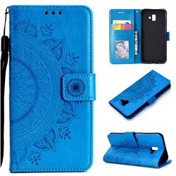 Intricate Embossing Datura Leather Wallet Case for Samsung Galaxy J6 Plus / J6 Prime - Blue