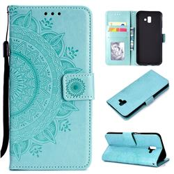 Intricate Embossing Datura Leather Wallet Case for Samsung Galaxy J6 Plus / J6 Prime - Mint Green