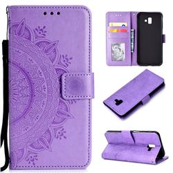 Intricate Embossing Datura Leather Wallet Case for Samsung Galaxy J6 Plus / J6 Prime - Purple