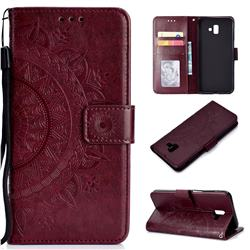Intricate Embossing Datura Leather Wallet Case for Samsung Galaxy J6 Plus / J6 Prime - Brown