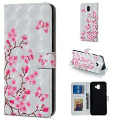 Butterfly Sakura Flower 3D Painted Leather Phone Wallet Case for Samsung Galaxy J6 Plus / J6 Prime