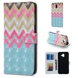 Color Wave 3D Painted Leather Phone Wallet Case for Samsung Galaxy J6 Plus / J6 Prime