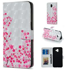 Cherry Blossom 3D Painted Leather Phone Wallet Case for Samsung Galaxy J6 Plus / J6 Prime