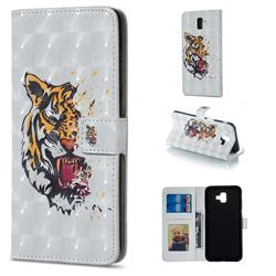 Toothed Tiger 3D Painted Leather Phone Wallet Case for Samsung Galaxy J6 Plus / J6 Prime