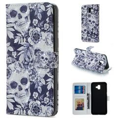 Skull Flower 3D Painted Leather Phone Wallet Case for Samsung Galaxy J6 Plus / J6 Prime
