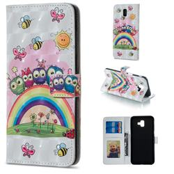 Rainbow Owl Family 3D Painted Leather Phone Wallet Case for Samsung Galaxy J6 Plus / J6 Prime