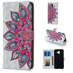 Mandara Flower 3D Painted Leather Phone Wallet Case for Samsung Galaxy J6 Plus / J6 Prime