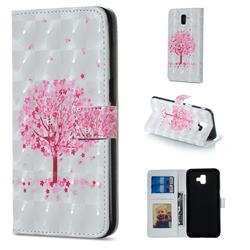 Sakura Flower Tree 3D Painted Leather Phone Wallet Case for Samsung Galaxy J6 Plus / J6 Prime