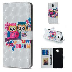 Couple Owl 3D Painted Leather Phone Wallet Case for Samsung Galaxy J6 Plus / J6 Prime