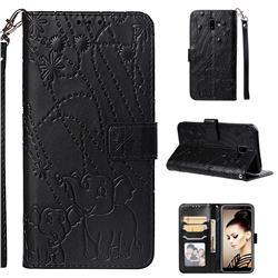 Embossing Fireworks Elephant Leather Wallet Case for Samsung Galaxy J6 Plus / J6 Prime - Black