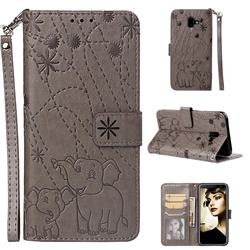 Embossing Fireworks Elephant Leather Wallet Case for Samsung Galaxy J6 Plus / J6 Prime - Gray