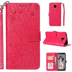Embossing Fireworks Elephant Leather Wallet Case for Samsung Galaxy J6 Plus / J6 Prime - Red