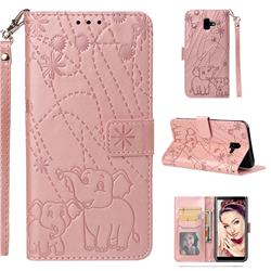 Embossing Fireworks Elephant Leather Wallet Case for Samsung Galaxy J6 Plus / J6 Prime - Rose Gold