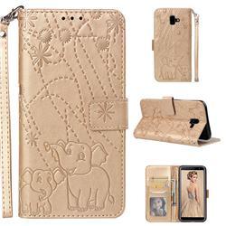 Embossing Fireworks Elephant Leather Wallet Case for Samsung Galaxy J6 Plus / J6 Prime - Golden