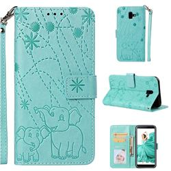 Embossing Fireworks Elephant Leather Wallet Case for Samsung Galaxy J6 Plus / J6 Prime - Green
