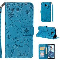 Embossing Fireworks Elephant Leather Wallet Case for Samsung Galaxy J6 Plus / J6 Prime - Blue