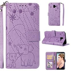 Embossing Fireworks Elephant Leather Wallet Case for Samsung Galaxy J6 Plus / J6 Prime - Purple