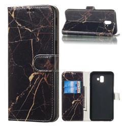 Black Gold Marble PU Leather Wallet Case for Samsung Galaxy J6 Plus / J6 Prime