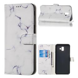 Soft White Marble PU Leather Wallet Case for Samsung Galaxy J6 Plus / J6 Prime