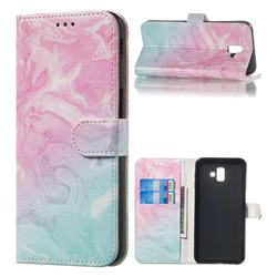 Pink Green Marble PU Leather Wallet Case for Samsung Galaxy J6 Plus / J6 Prime