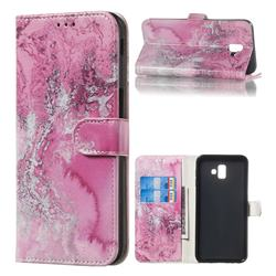 Pink Seawater PU Leather Wallet Case for Samsung Galaxy J6 Plus / J6 Prime