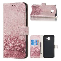 Glittering Rose Gold PU Leather Wallet Case for Samsung Galaxy J6 Plus / J6 Prime