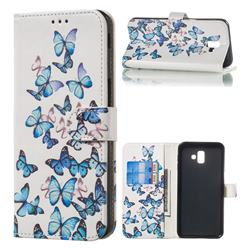 Blue Vivid Butterflies PU Leather Wallet Case for Samsung Galaxy J6 Plus / J6 Prime