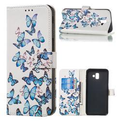 Blue Vivid Butterflies PU Leather Wallet Case for Samsung Galaxy J6 Plus / J6 Prime
