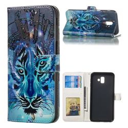 Ice Wolf 3D Relief Oil PU Leather Wallet Case for Samsung Galaxy J6 Plus / J6 Prime
