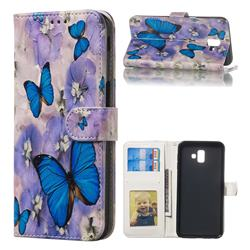Purple Flowers Butterfly 3D Relief Oil PU Leather Wallet Case for Samsung Galaxy J6 Plus / J6 Prime