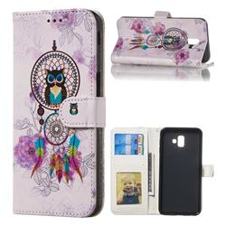 Wind Chimes Owl 3D Relief Oil PU Leather Wallet Case for Samsung Galaxy J6 Plus / J6 Prime