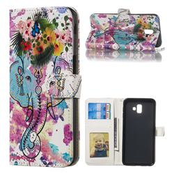 Flower Elephant 3D Relief Oil PU Leather Wallet Case for Samsung Galaxy J6 Plus / J6 Prime